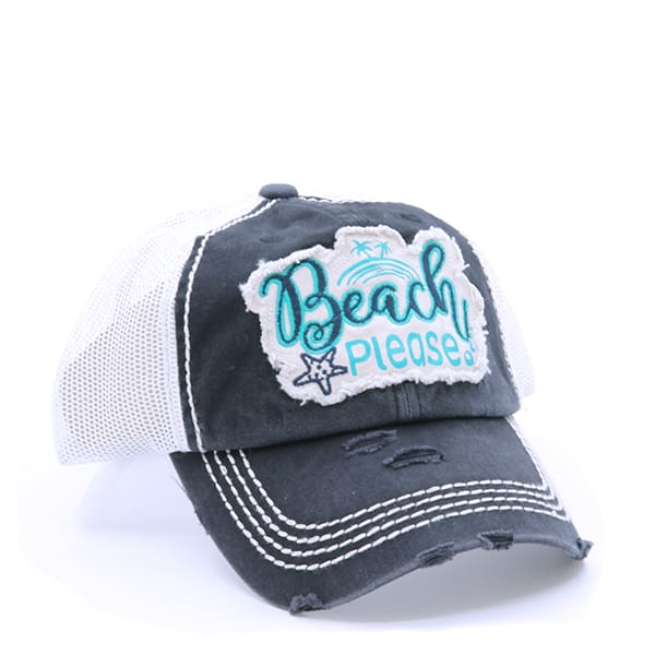 Beach Please Hat - Turquoise/black - Hats