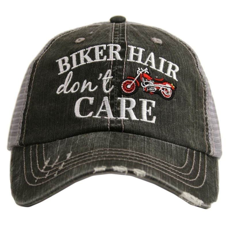 Biker Hair Dont Care Hat - Red - Hats