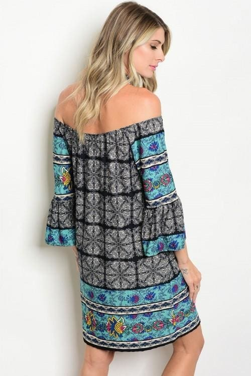 Black Jade Multii Print Off Shoulder Dress - Dress