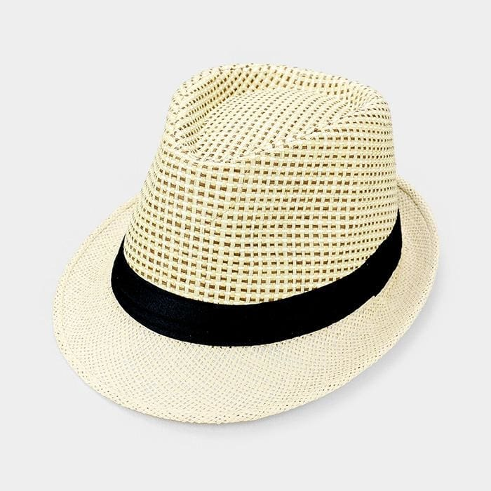 Black Ribbon Trim Straw Fedora - Beige - Hats