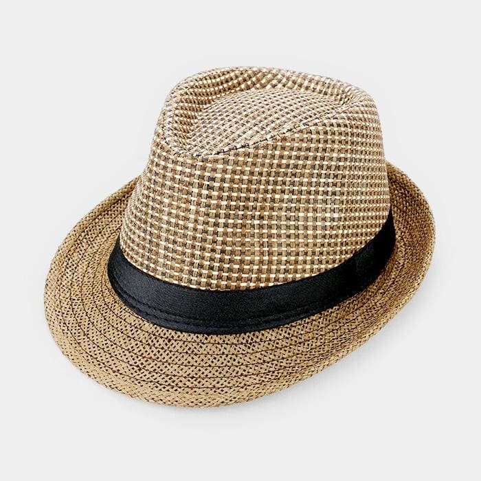 Black Ribbon Trim Straw Fedora - Brown - Hats