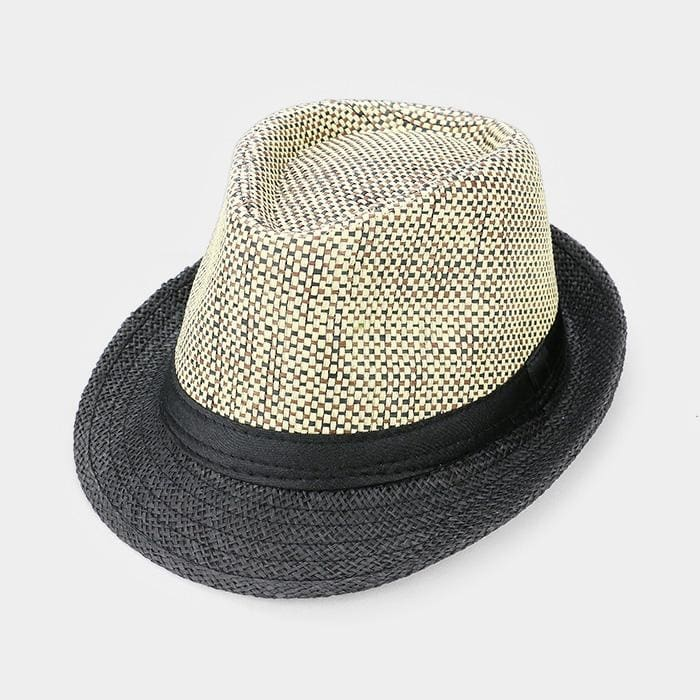 Black Ribbon Trim Straw Fedora - Black - Hats