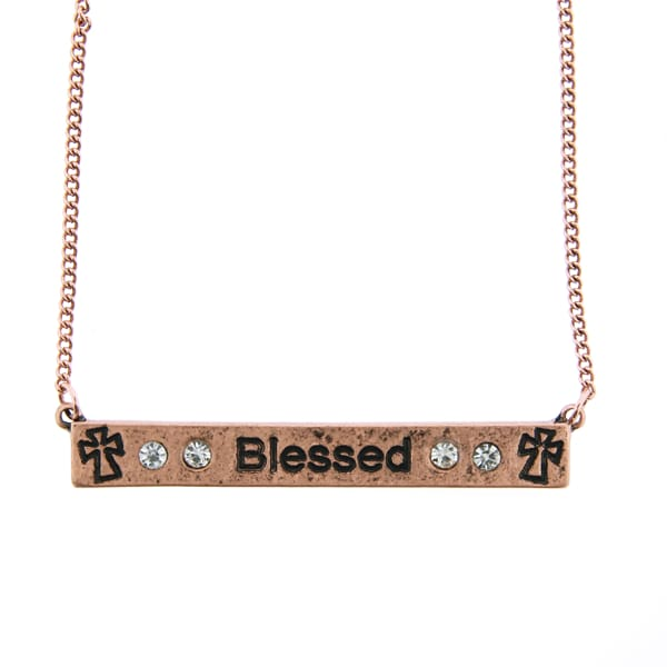 Blessed Cross Thin Necklace - Bronze - Jewelry