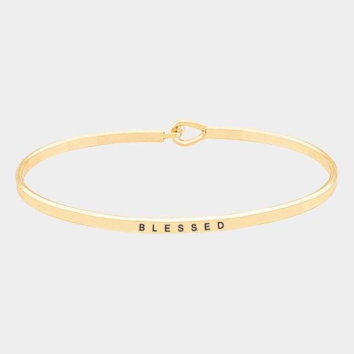 Blessed Thin Metal Hook Bracelet - Gold - Jewelry