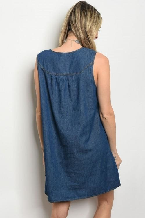 Blue Denim Lace Up Neck Trimmed Dress - Dress