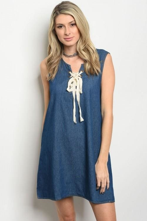Blue Denim Lace Up Neck Trimmed Dress - Small - Dress