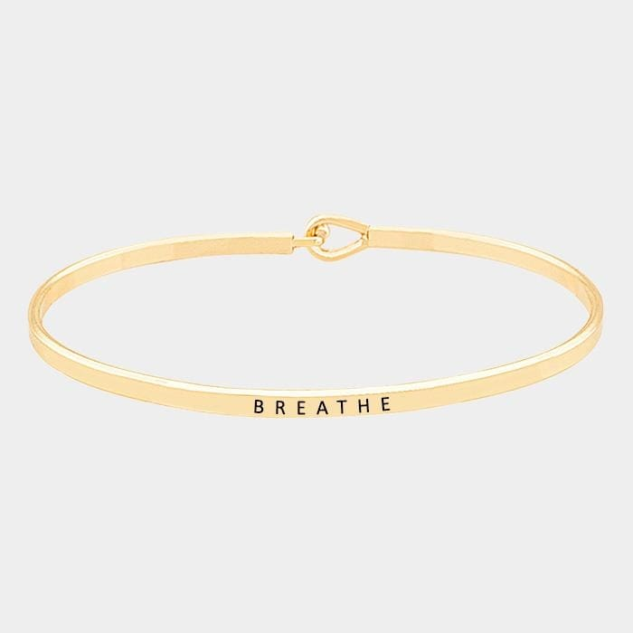 Breathe Thin Metal Hook Bracelet - Gold - Jewelry