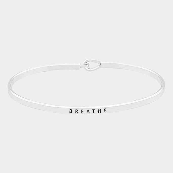 Breathe Thin Metal Hook Bracelet - Rhodium - Jewelry