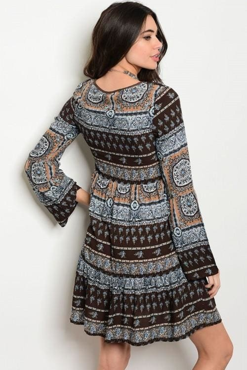 Brown Multi Dress - Dress
