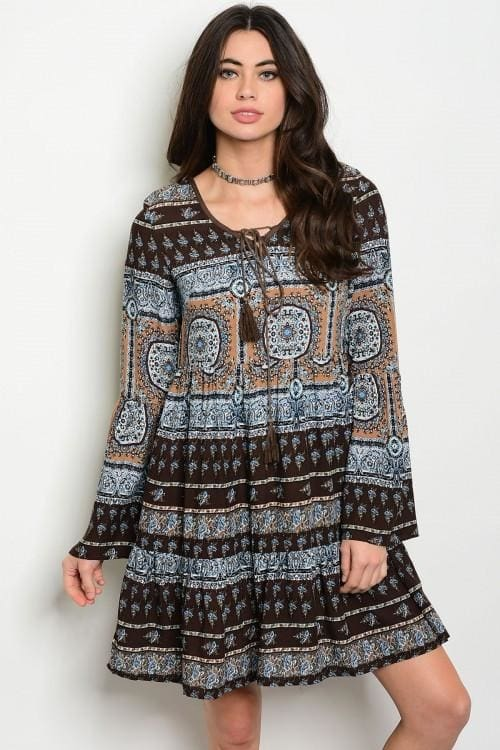 Brown Multi Dress - Small - Dress