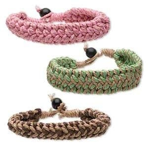Cotton Cord And Wood Multicolored Bracelet - Pink - Jewelry