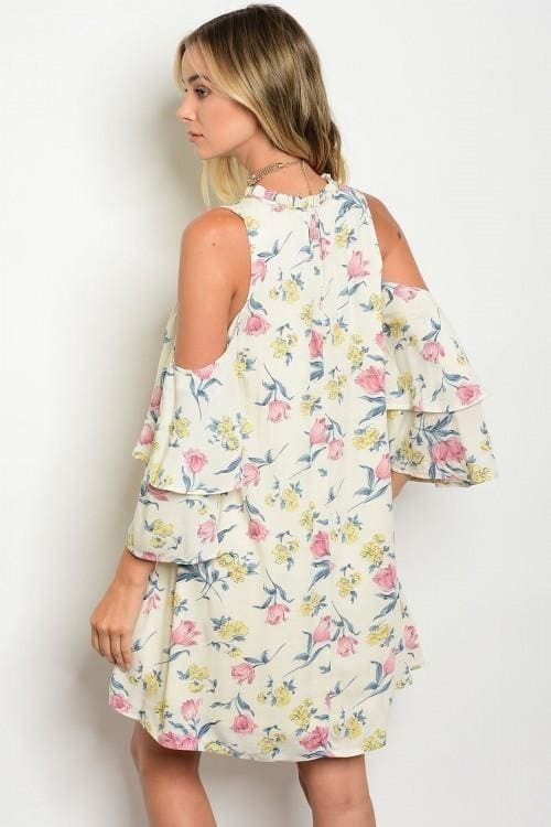 Cream Floral Cold Shoulder Dress - Apparel