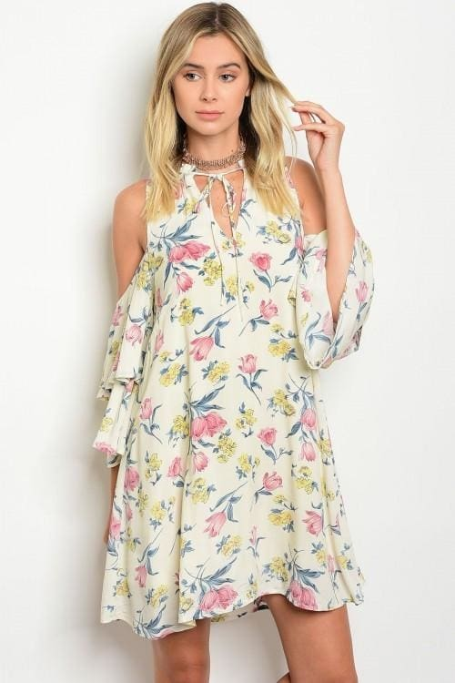 Cream Floral Cold Shoulder Dress - Small - Apparel