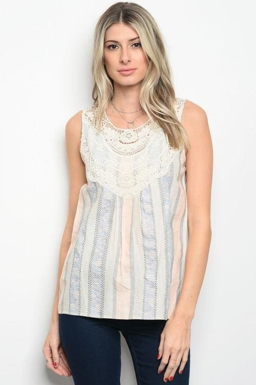 Cream Peach Top - Small - Apparel