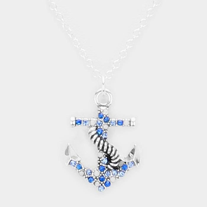 Crystal Rhinestone Pave Anchor Pendant Necklace - Antique Silver - Jewelry