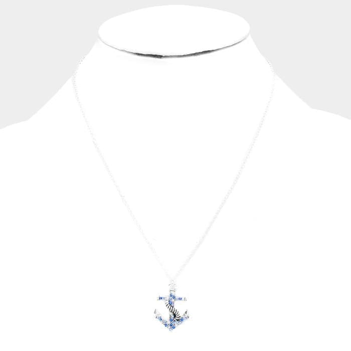Crystal Rhinestone Pave Anchor Pendant Necklace - Jewelry