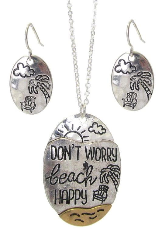 Dont Worry Beach Happy Sea Life Pendant Necklace Set - Worn Silver - Necklace & Earring Sets