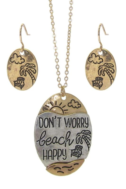 Dont Worry Beach Happy Sea Life Pendant Necklace Set - Worn Silver/worn Gold - Necklace & Earring Sets