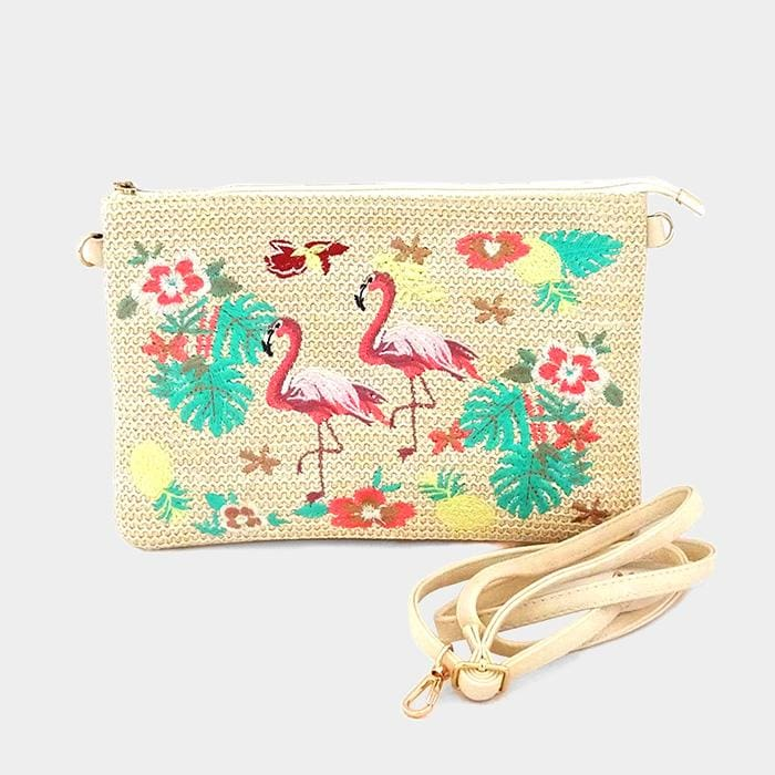 Embroidery Floral Flamingo Clutch Bag - Beige - Hand Bags