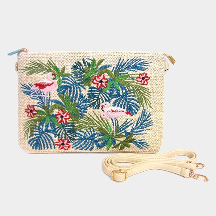 Embroidery Leaf Flowers Flamingo Clutch Bag - Beige - Hand Bags