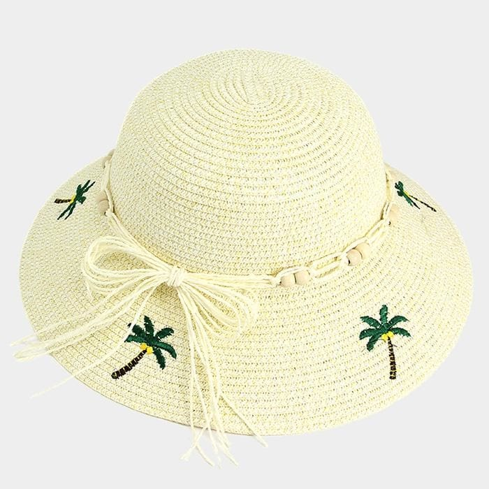Embroidery Palm Tree Bow Trim Straw Sun Hat - Beige - Hats