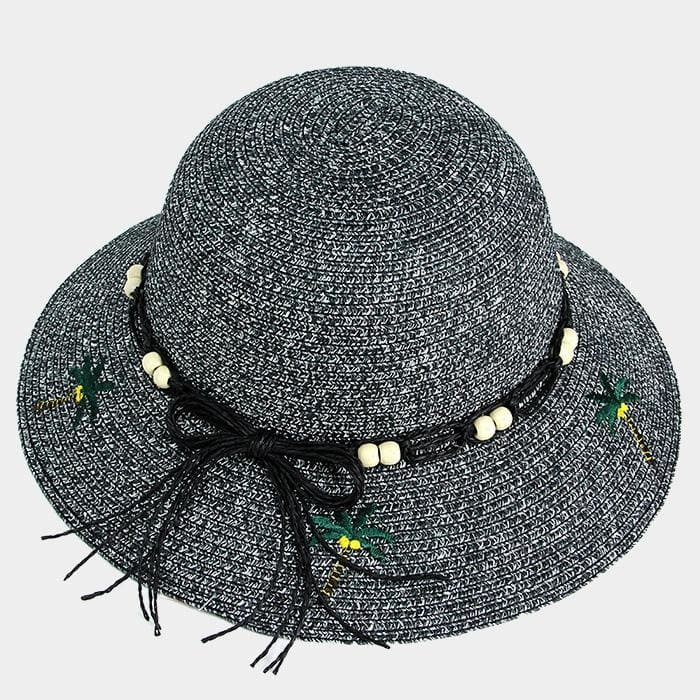 Embroidery Palm Tree Bow Trim Straw Sun Hat - Black - Hats