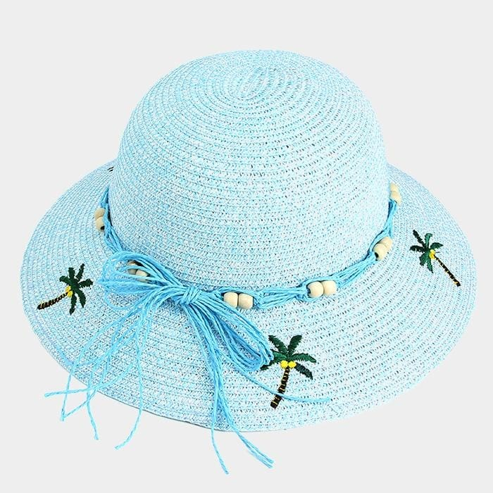 Embroidery Palm Tree Bow Trim Straw Sun Hat - Blue - Hats