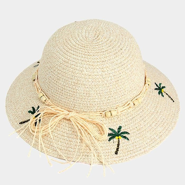 Embroidery Palm Tree Bow Trim Straw Sun Hat - Hats