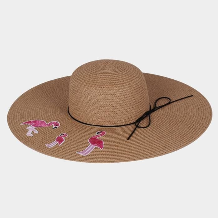 Embroidery Triple Flamingo Bow Trim Straw Floopy Sun Hat - Khahi - Hats