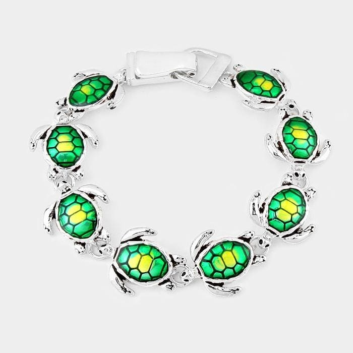 Enamel Turtle Link Magnetic Bracelet - Antique Silver - Jewelry
