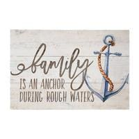 Family Is An Anchor During Rough Waters Wood Sign - 10.5X16 - Wood Signs