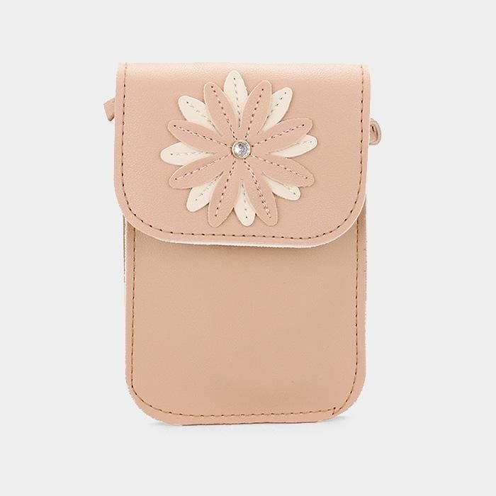 Faux Leather Flower Detail Smartphone Mini Crossbody Bag - Beige - Hand Bags