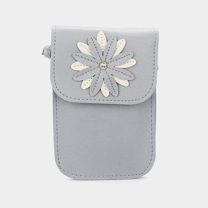 Faux Leather Flower Detail Smartphone Mini Crossbody Bag - Gray - Hand Bags