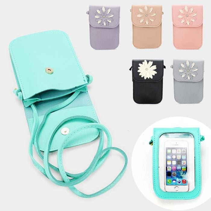 Faux Leather Flower Detail Smartphone Mini Crossbody Bag - Hand Bags