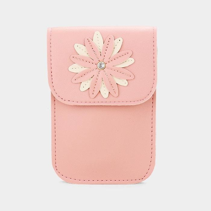 Faux Leather Flower Detail Smartphone Mini Crossbody Bag - Pink - Hand Bags