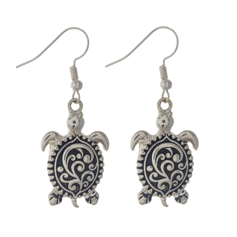 Filigree Design Sea Turtle Earrings - Silver - Jewelry
