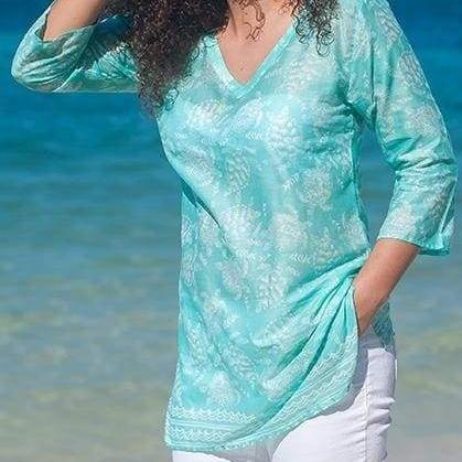 Fireworks Turtle Cotton Tunic Beach - Tops