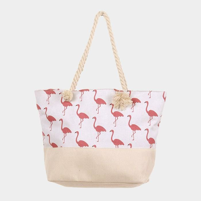 Flamingo Pattern Canvas Tote Bag - Default - Hand Bags
