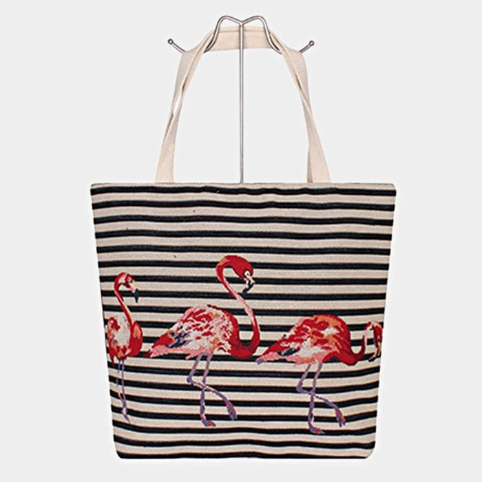 Flamingo Print Tote Bag - Black - Hand Bags