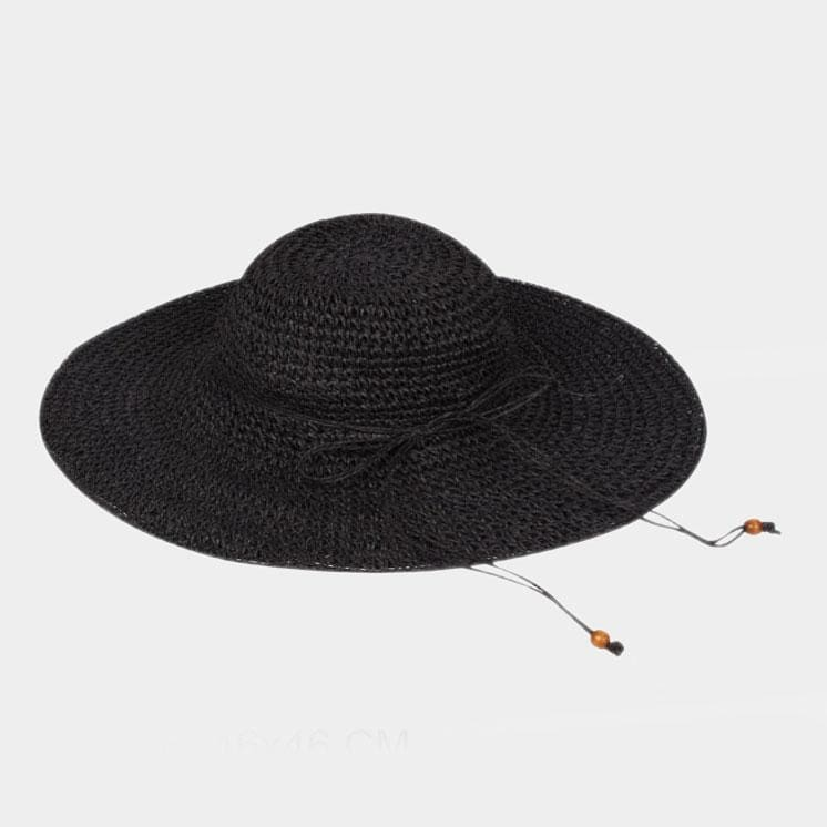 Flexible Sun Hat W/faux Suede Ribbon - Black - Hats