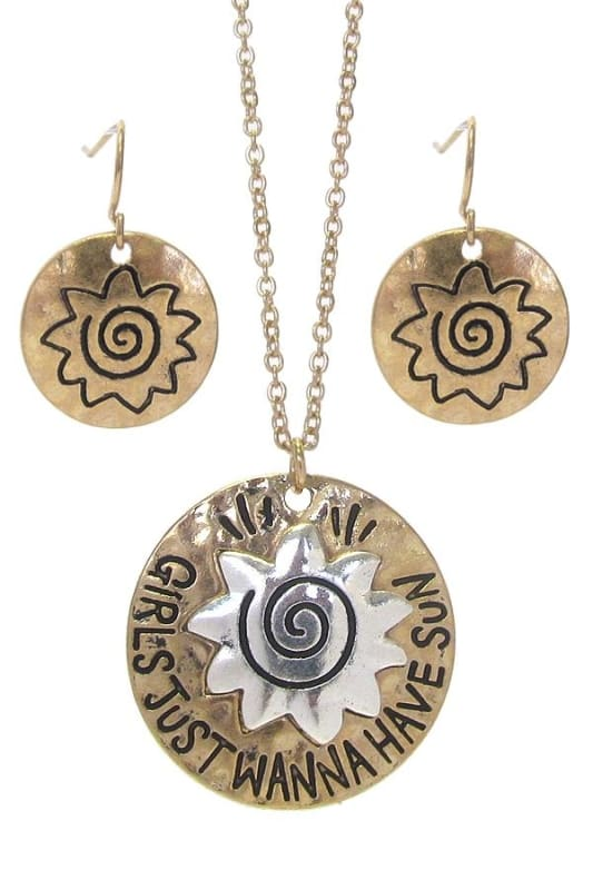 Girls Just Wanna Have Sun Sea Life Pendant Necklace Set - Worn Gold/worn Silver - Necklace & Earring Sets
