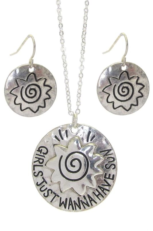 Girls Just Wanna Have Sun Sea Life Pendant Necklace Set - Worn Silver - Necklace & Earring Sets