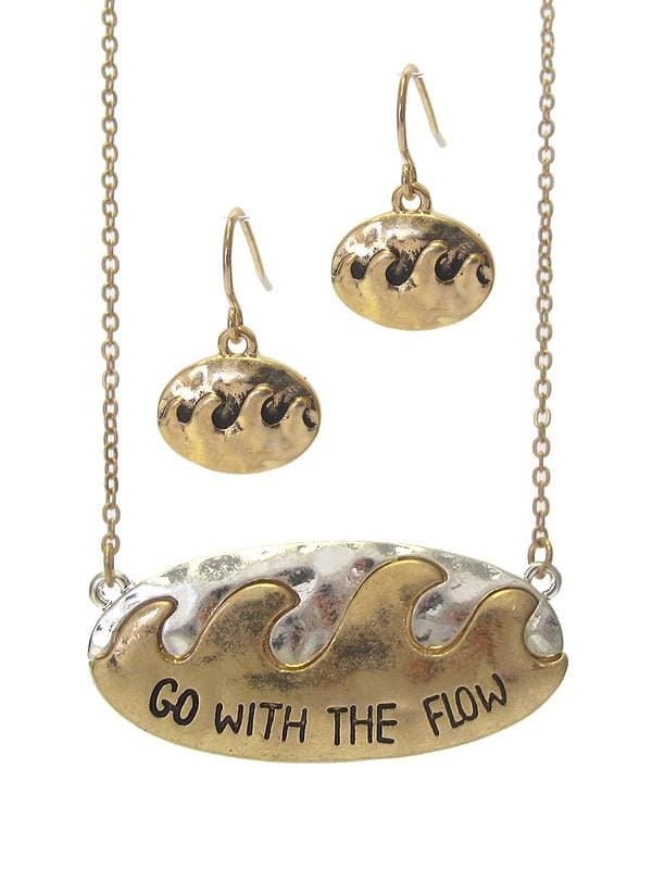 Go With The Flow Sea Life Pendant Necklace Set - Worn Gold/worn Silver - Jewelry
