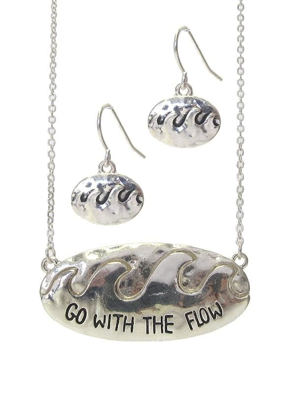 Go With The Flow Sea Life Pendant Necklace Set - Worn Silver - Jewelry