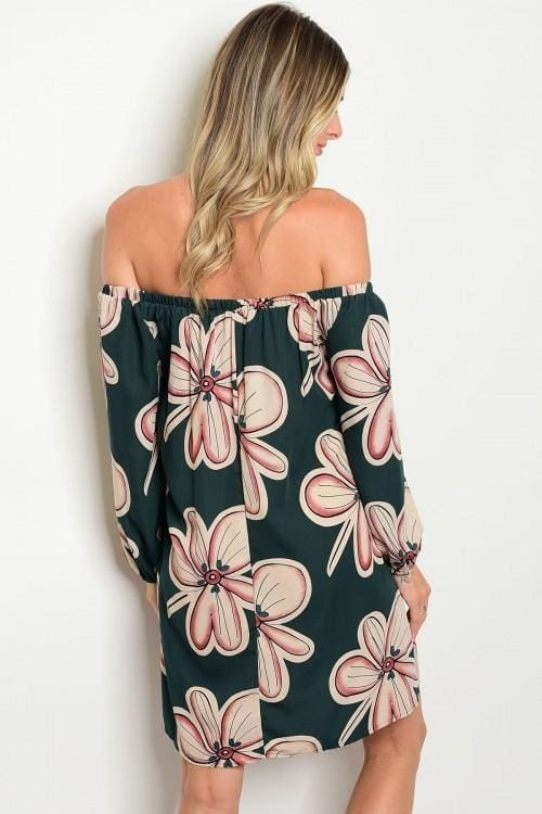 Green Tan Floral Print Dress - Apparel