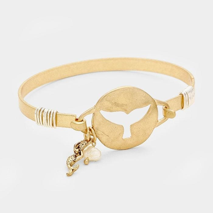 Hammered Cut Out Whale Tail W/ Mermaid & Pearl Bracelet - Gold - Jewelry