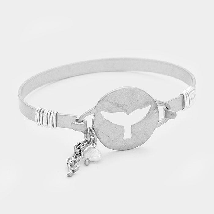 Hammered Cut Out Whale Tail W/ Mermaid & Pearl Bracelet - Silver - Jewelry