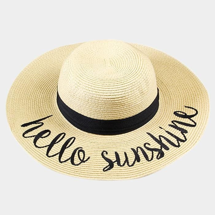 Hello Sunshine Embroidered Straw Floppy Sun Hat - Beige - Hats