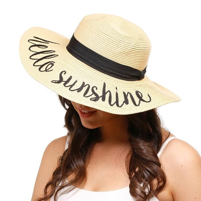 Hello Sunshine Embroidered Straw Floppy Sun Hat - Hats