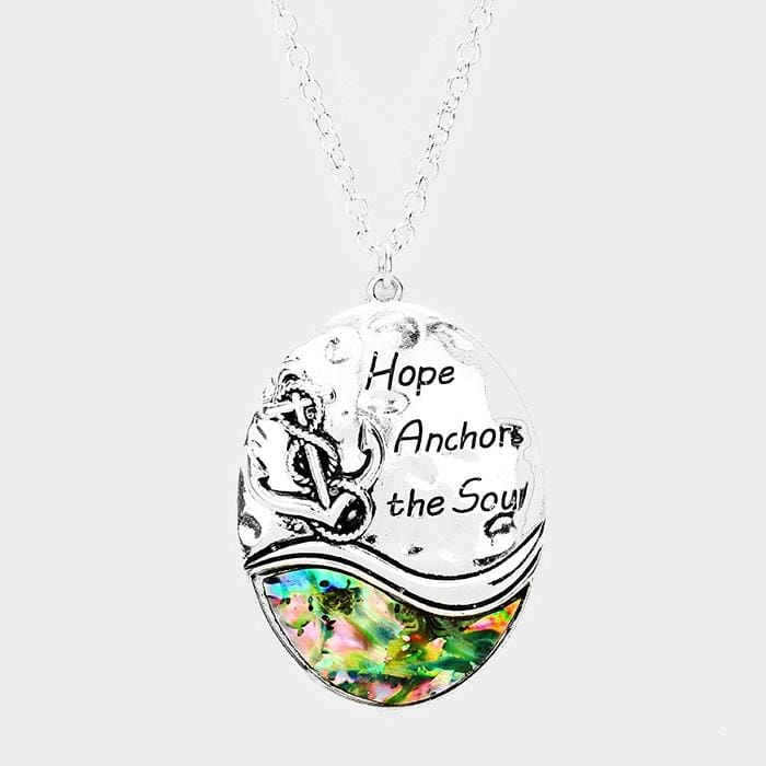 Hope Anchors The Soul Abalone Anchor Pendant Necklace - Antique Silver - Jewelry